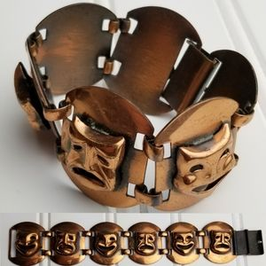 Jewelry - Copper Link Panel Drama Masks Bracelet